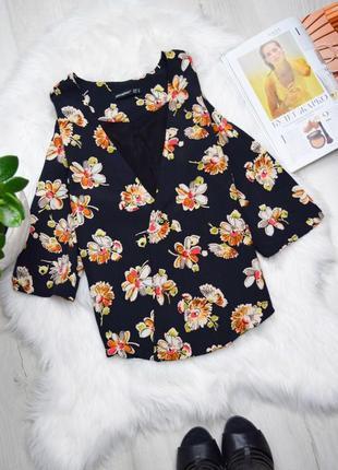 Цветочный стильный жакет пиджак блуза на запах