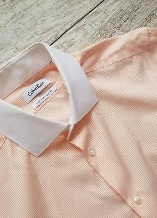 Рубашка calvin klein в полоску с белым воротником размер 15.5 оригинал slim fit