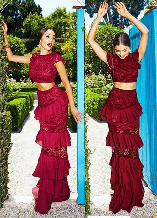 Комплект ажурный платье кружевное prettylittlething юбка смакси + кроп-топ с asos