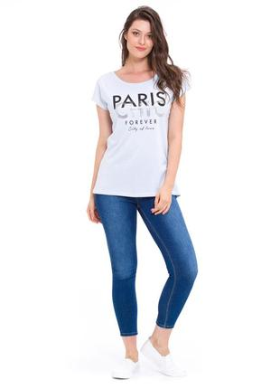 Голубая женская футболка lc waikiki с надписью paris chic forever