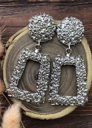 Массивные стильные серьги серебро, трапеция, прямоугольные, мода 2019