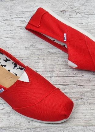 Кеды мужские эспадрильи toms красные мокасины текстильные4 фото