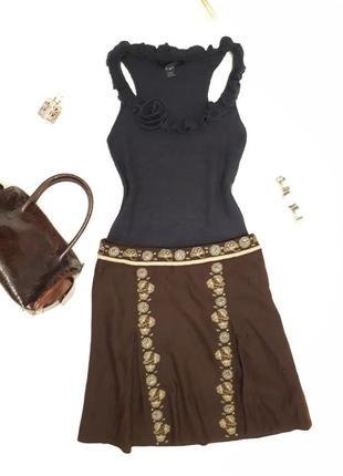Шерстяная юбка с вышивкой от warehouse (  шерсть wool )