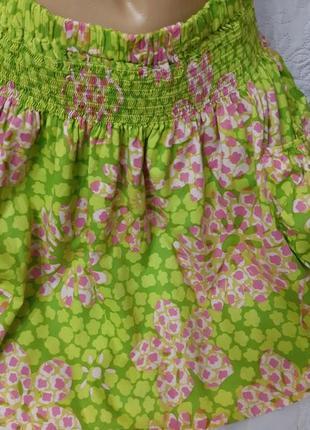 Отличная летняя мини юбка с карманами,100% хлопок