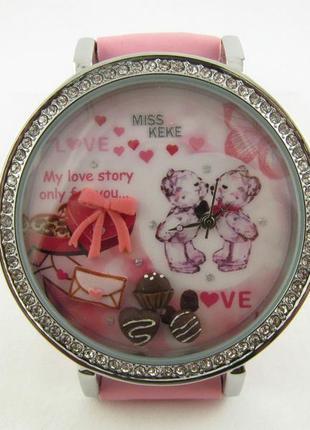 """Часы  женские молодежные """"любовь"""" c объемным рисунком"""