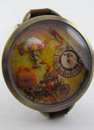 """Часы  женские молодежные """"ретро"""" c объемным рисунком"""