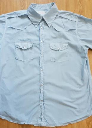 Сорочка з короткими рукавами котонова чоловіча на кнопках