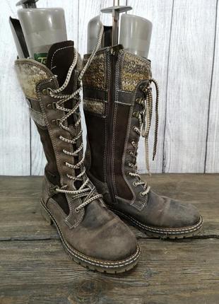 Ботинки теплые tomaris, кожаные, коричневые
