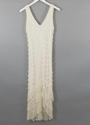 Винтажное вязаное крючком платье