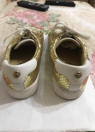 Кожаные кроссовки кроссовки кожаные цвет золото kors3 фото