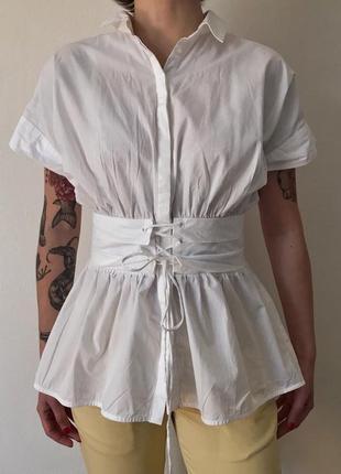 Хлопковая блуза с имитацией корсета