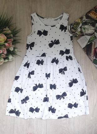 Нежное платье в бантики 6-8 лет h&m