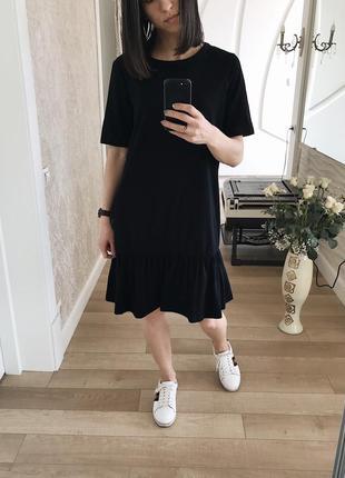 Стильное котоновое чёрное платье от asos.
