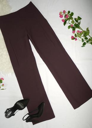 Легкие воздушные брюки винного цвета на невысокую девушку с высокой посадкой