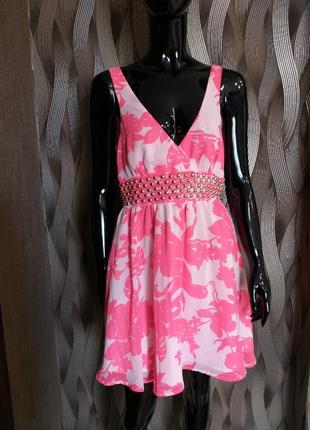 Распродажа летнего шифоновое платье / сарафан от new look uk 12 наш 46