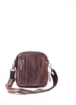 Кожаная мужская сумка мини на пояс, на длинной ремне