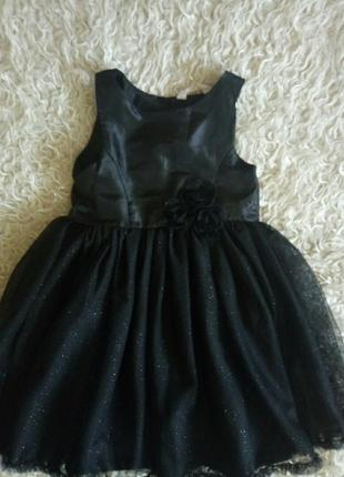 Нарядное черное платье 7-8 лет