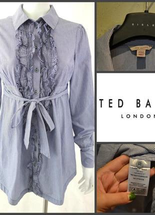 Классная полосатая голубая в полоску хлопковая рубашка платье туника  m-l