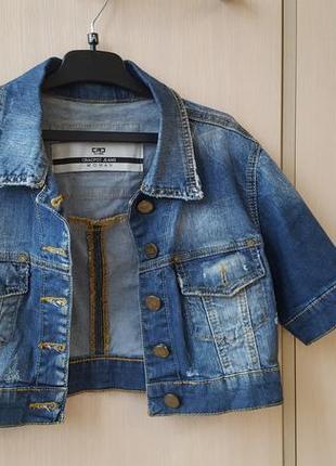 Джинсовый пиджак укороченный наш 44-46