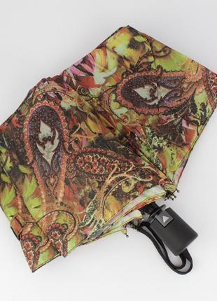 Стильный женский складной зонт полуавтомат silver rain 705-3 разноцветный, принт восток