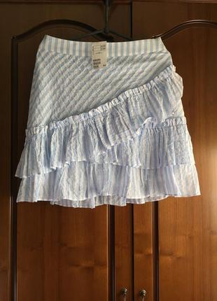 Короткая юбочка в полоску с рюшей h&m