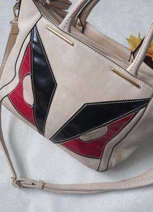 Бежевая сумка / сумочка / сумка с длинной ручкой