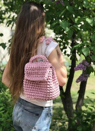 Рюкзак женский розовый ручной работы