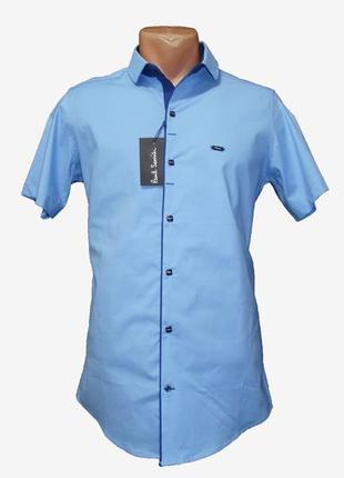 Мужская однотонная рубашка с коротким рукавом на кнопках paul semih, турция. разные цвета.