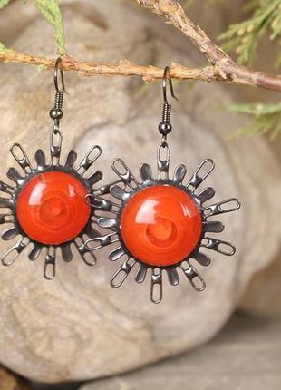 Серьги солнце яркие красно-оранжевые серьги