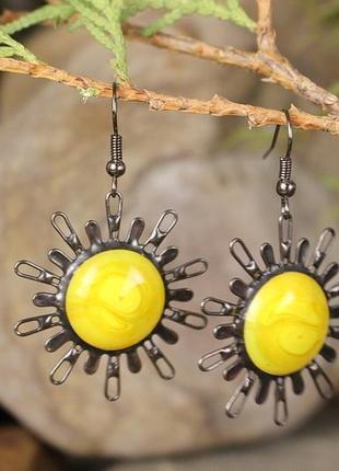Серьги солнце яркие желтые серьги