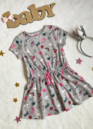 Стильное хлопковое платье f&f, 5-6 лет, принт котики