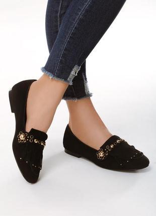 Новые черные женские туфли лоферы