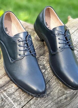 Мужские летние туфли кожаные модельные на шнурках в дырочку черные2 фото