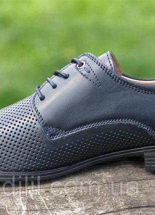 Мужские летние туфли кожаные модельные на шнурках в дырочку черные3 фото
