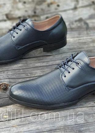 Мужские летние туфли кожаные модельные на шнурках в дырочку черные5 фото