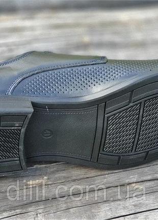 Мужские летние туфли кожаные модельные на шнурках в дырочку черные7 фото