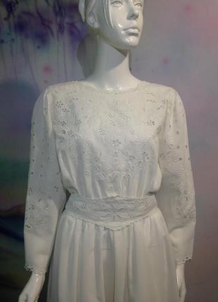 Эксклюзивное хлопковое винтажное платье в пол с вышивкой