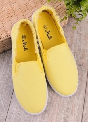Желтые кеды мокасины