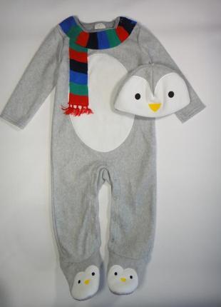 """Теплый человечек f&f """"пингвин"""" с шапкой 9-12 мес, 80 см"""