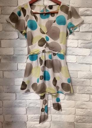 Шёлковая лёгкая блузка с короткими рукавами esprit