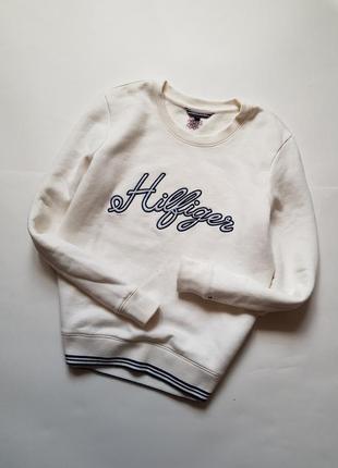Шикарный хлопковый свитшот  tommy hilfiger оригинал,качественный базовый белый реглан
