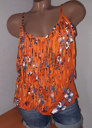 Оранжевая майка/топ с бахромой с принтом
