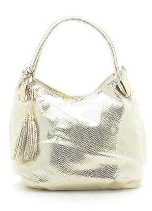 Женская сумка-мешок из лазерного кожзама 154 золото