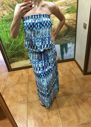 Платье сарафан бандо длинное в пол свободное