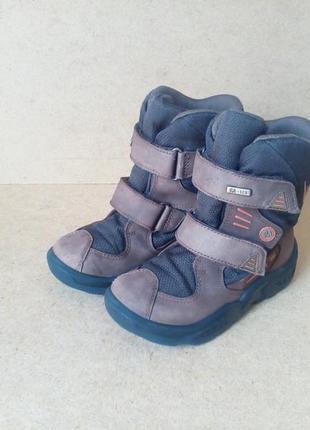 Сапоги ботинки elefanten на липучках для мальчика коричневые кожаные