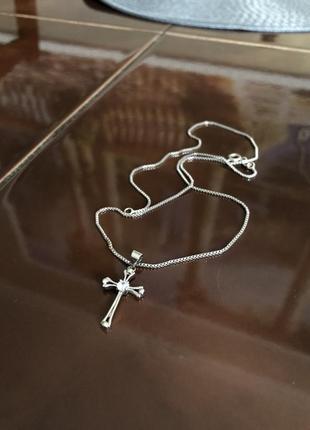 Цепочка крестик подвеска кулон набор комплект серебро