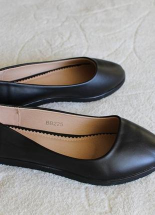 Черные туфли, балетки 36 размера на низком ходу