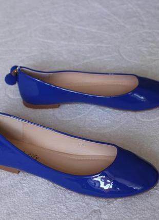 Синие туфли, балетки 37 размера на низком ходу