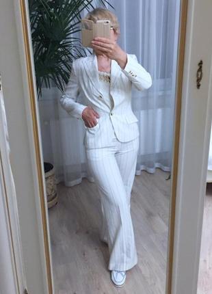 Костюм в полоску с брюками палаццо monton эстония eur 38 s/m оригинал бренд белый