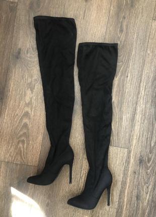 Высокие сапоги - ботфорты на каблуке /на шпильке